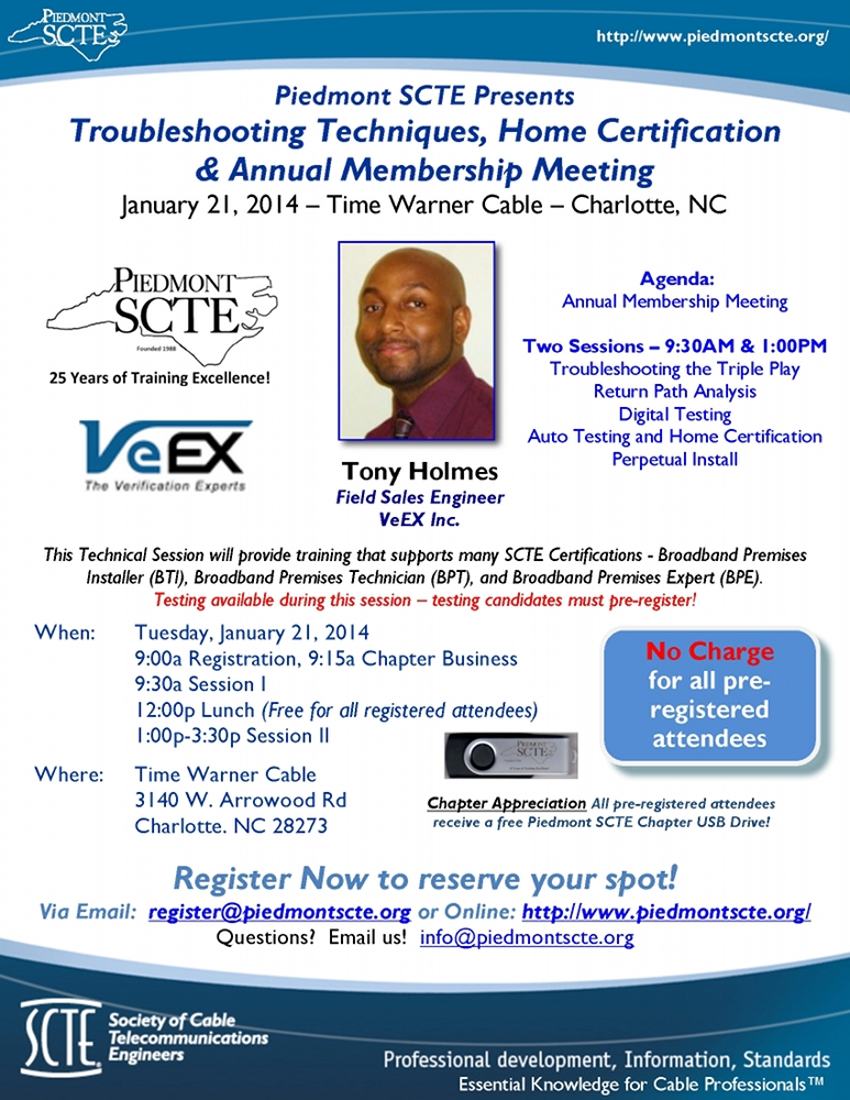 Piedmont Chapter January 2014 Technical Session